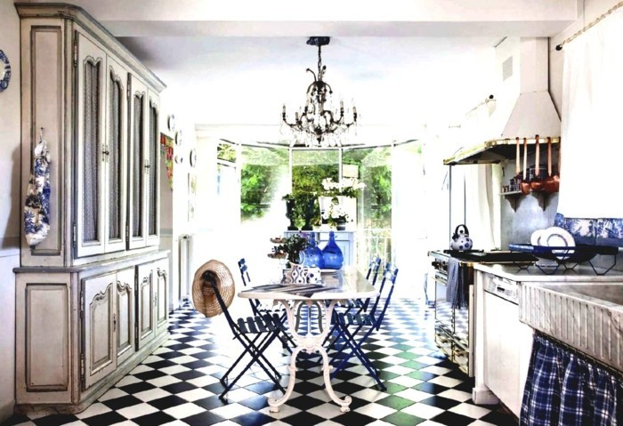 furnishing country style kitchen french style blue elements