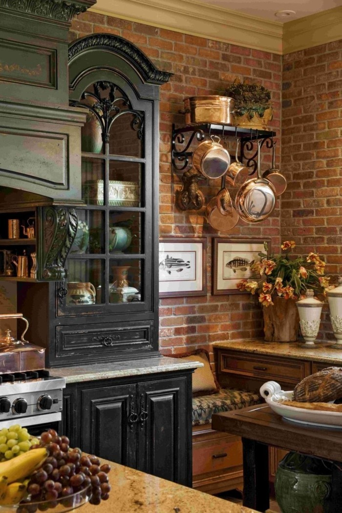 furnishing ideas home ideas kitchen brick wall floral decoration