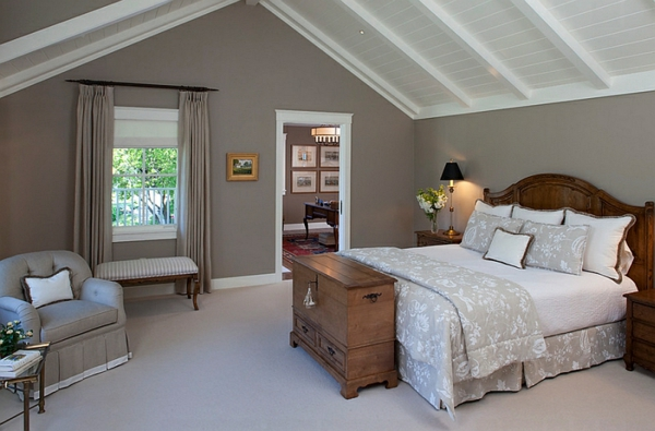 furnishing ideas country house bedroom roof pitch bed