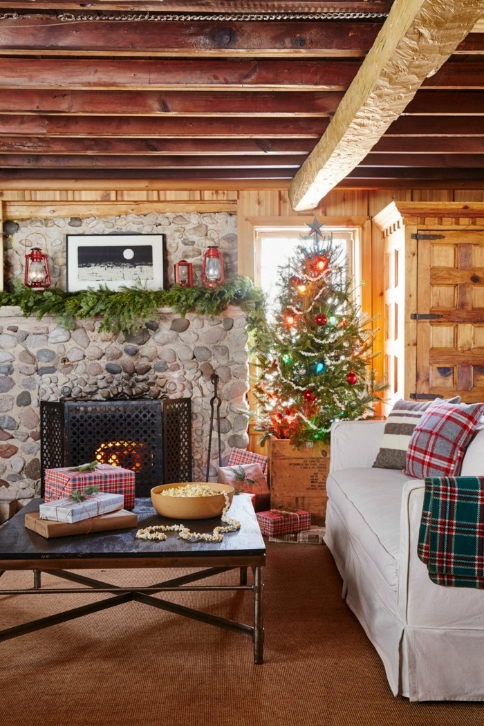 living room decorate christmas country house christmas tree stone wall