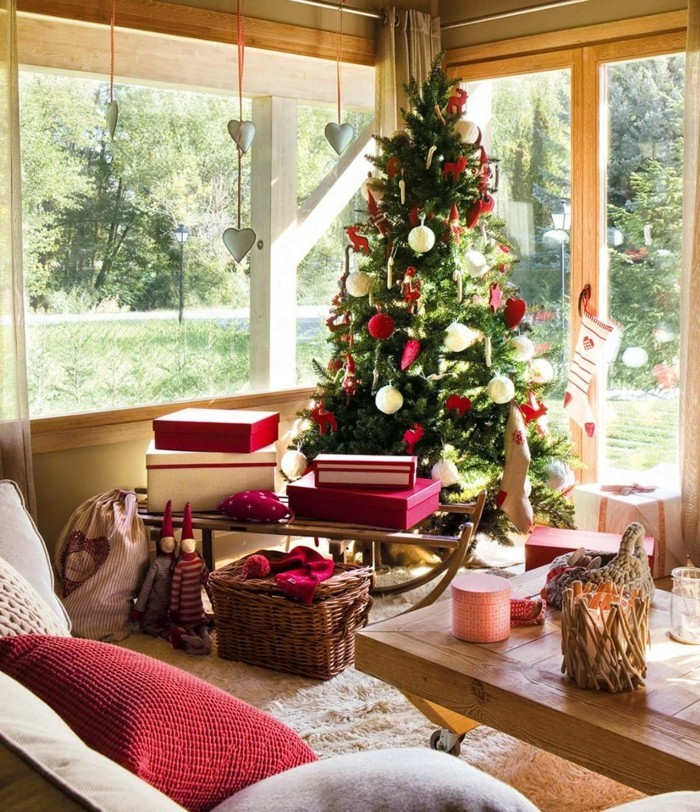 living room design christmas christmas tree red accents