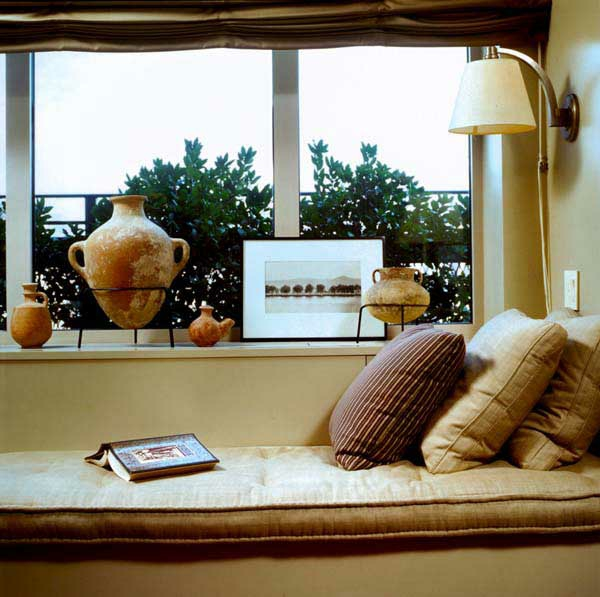 bay window striped pillow ideas brown tones design
