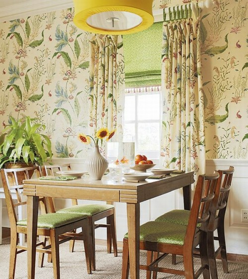 Interior ideas in french country style wooden furniture pieces floral pattern walls green color