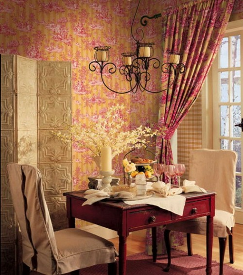 dining room two people romantic decorative screen rustic french style
