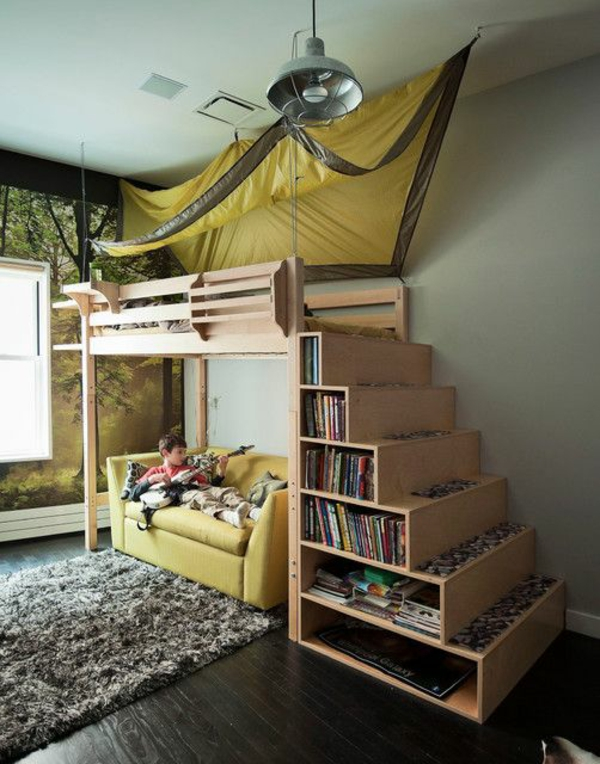 bunk bed with stairs as a cupboard nursery