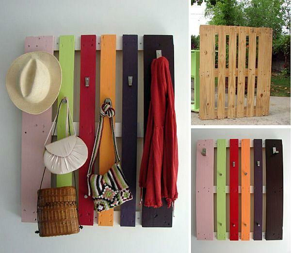 wooden pallet colorful hallway wardrobe