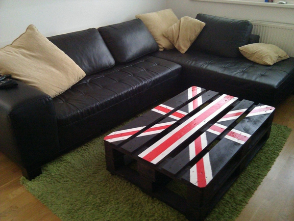wooden pallet coffee table black union jack