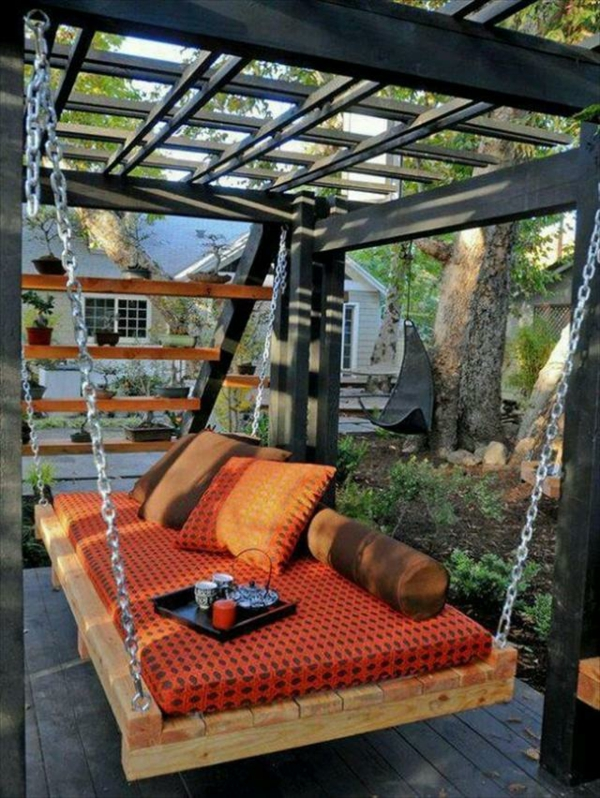 wooden pallets diy hanging sofa metal chains
