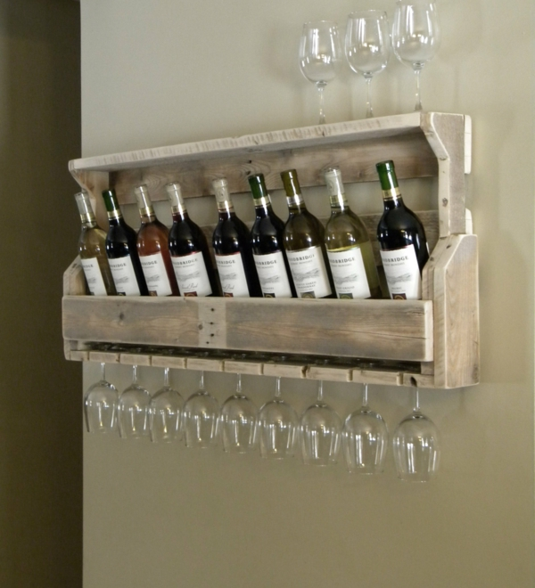 wooden pallet diy wine rack wall shelf