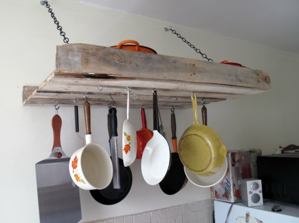 wooden pallet kitchen rack hanging pans