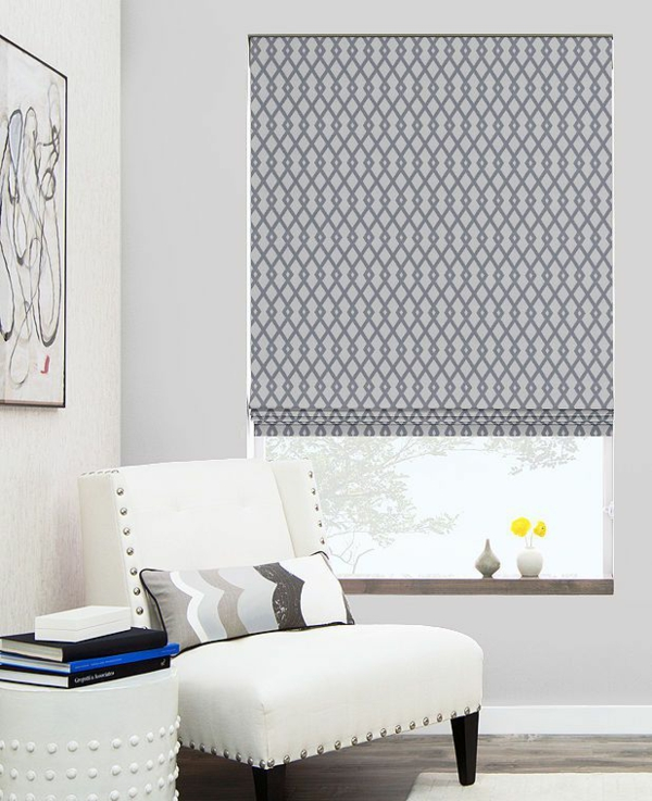 faltrollo sew yourself gray patterned window decor living room roman blinds