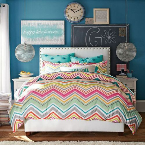 Coloring bedroom bedding bedding pattern wall paint blue