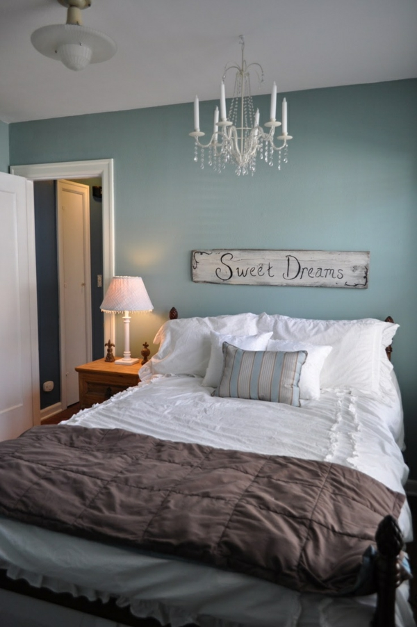 color design bedroom bed wall paint blue
