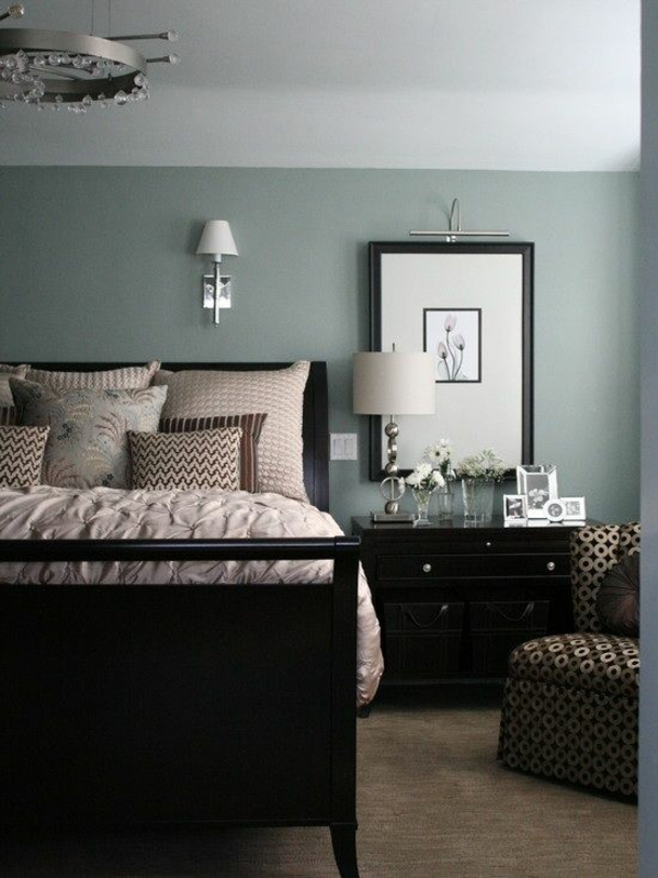 color scheme bedroom bed wall paint gray