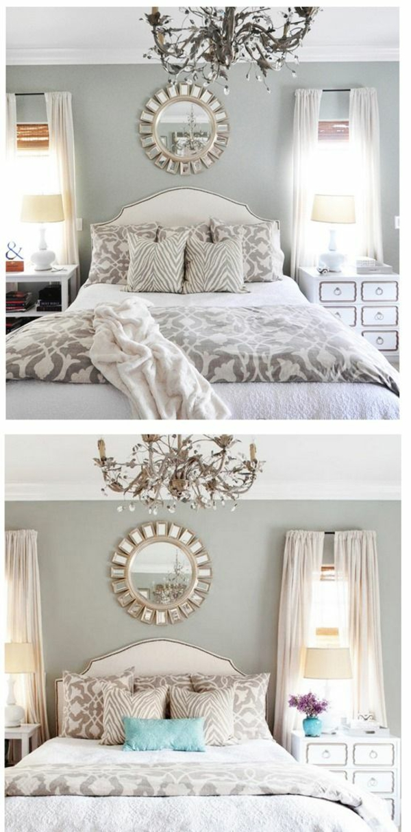color design bedroom bed wall paint gray wall mirror chandelier