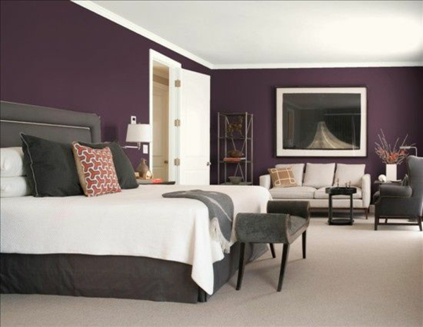 color design bedroom bed wall paint purple purple