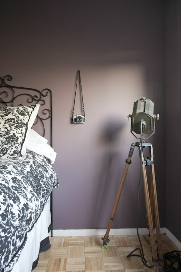 color design bedroom bed wall paint purple