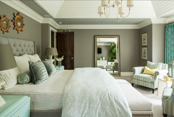 color scheme bedroom wall paint gray upholstered bed