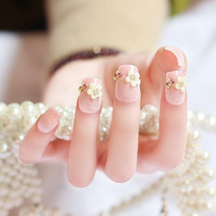fine wedding nails designs glittering stones flowers