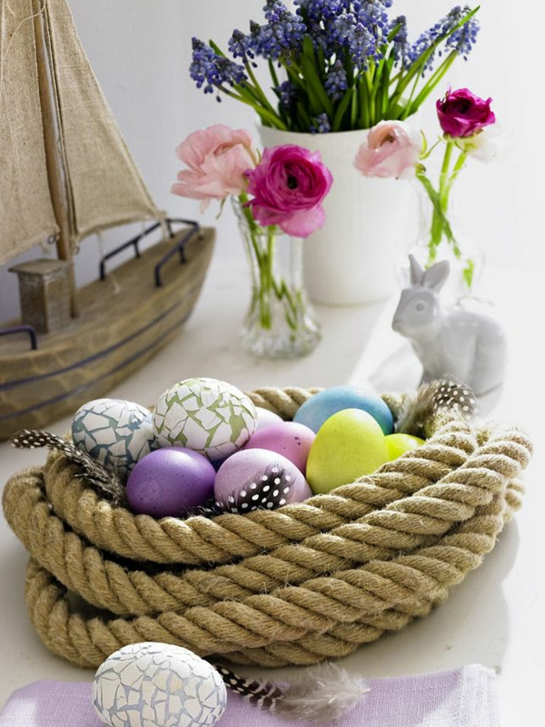 festive table decoration easter wicker basket made of rope