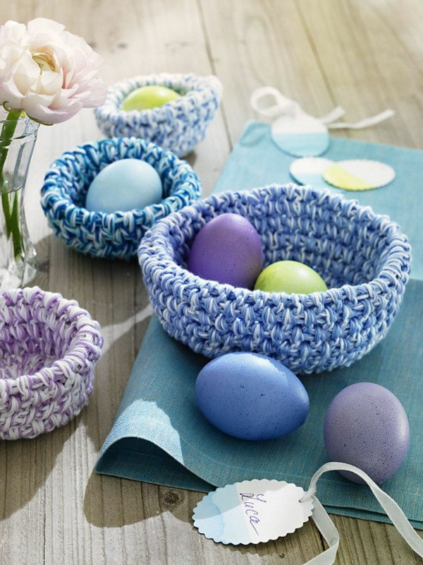 festive table decoration easter wicker wooden table
