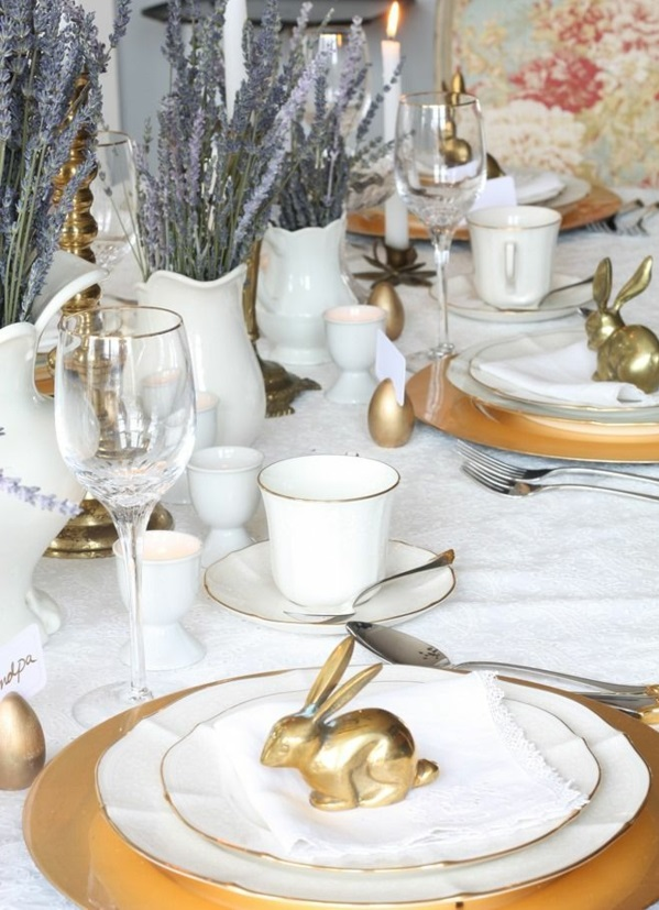 festive table decoration easter gold accents plate cutlery