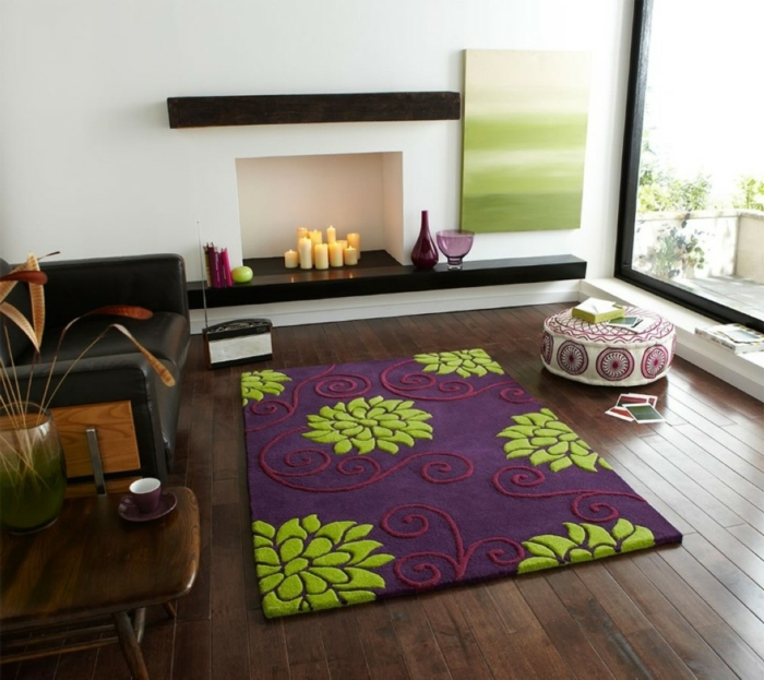 hearth living room decorating candles colored carpet