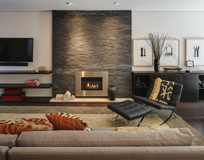 hearth living room stone wall accent wall beige carpet