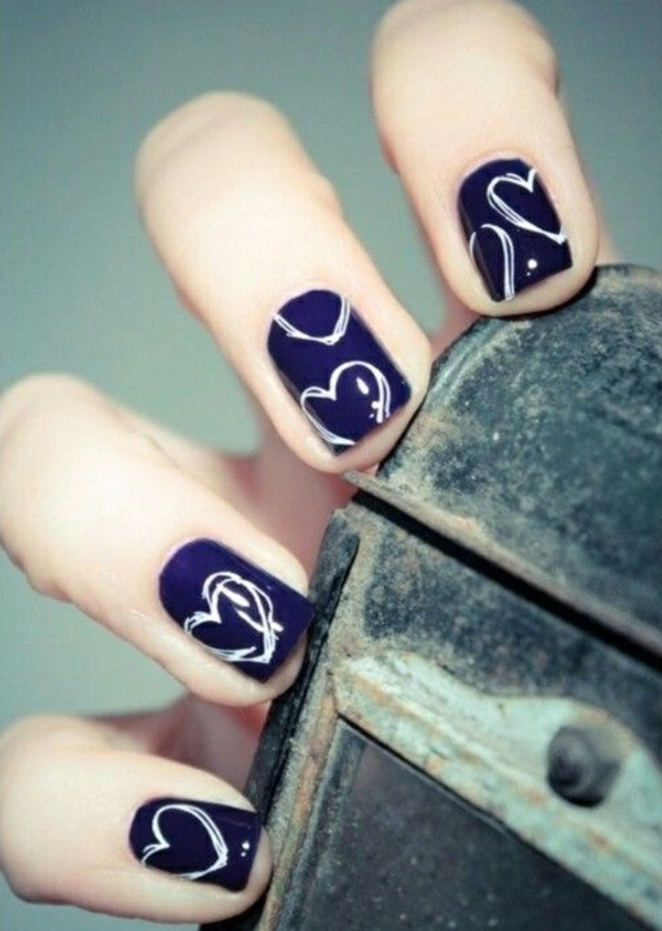 fingernails images simple nail design heart motifs