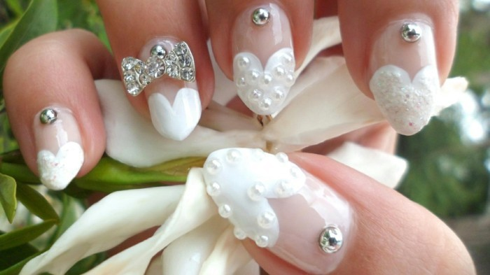 fingernails for wedding nail polish metal beads sparkling stones
