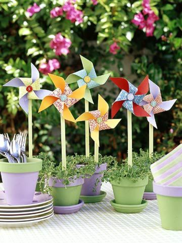 spring decoration tinker with children deco flower pots