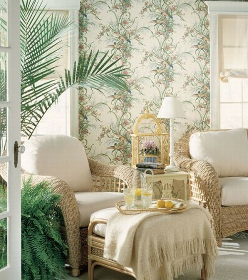 French country style comfortable comfortable reading corner living room exotic plants