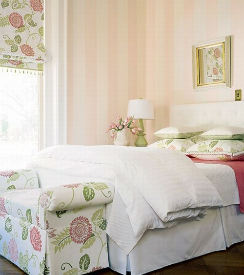 French country style bedroom pastel colors vertical stripes wall