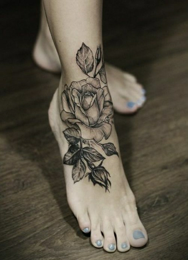 foot tattoo designs tattoos pictures black roses