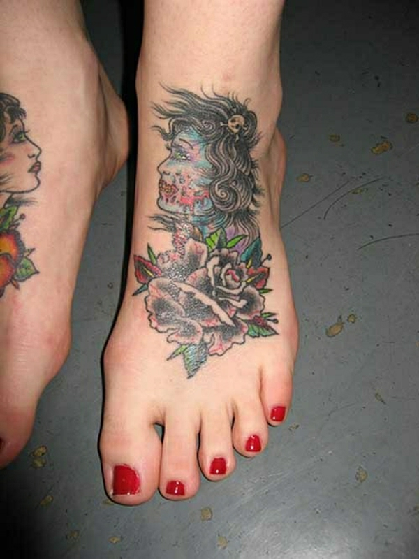 foot tattoo designs tattoos pictures women's face