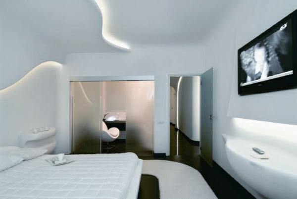 futuristic bedroom designs frosted glass intermediate wall
