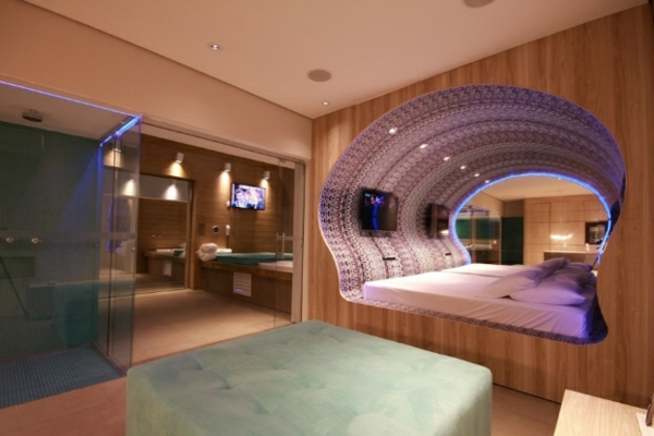 futuristic bedroom designs shell shaped with neon light