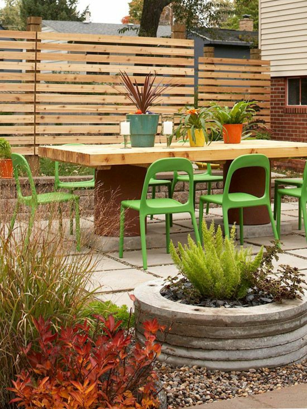 garden ideas privacy wood dining table chairs
