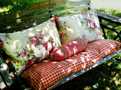 Spring design wood metal shade garden bench DIY project
