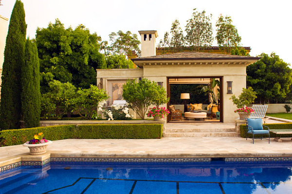 garden house ideas in mediterranean style by the pool