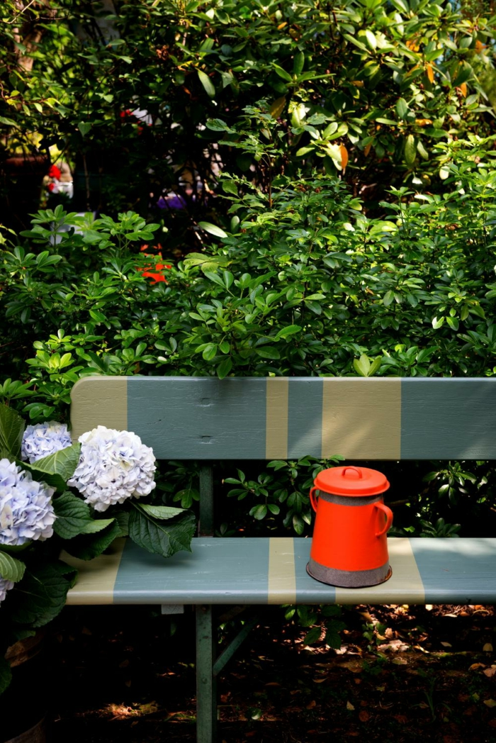 garden ideas colored garden design bench flowers