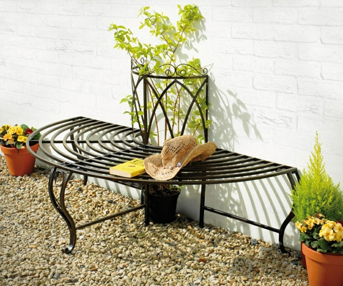 garden ideas garden bench garden decorate plants pebbles