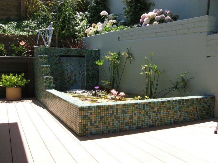 Garden Ideas Garden Decorations Mosaic Tiles Waterfall Design Garden Areas