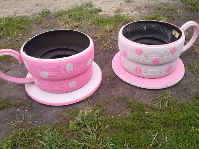 garden ideas to make yourself teacups old car tires pink