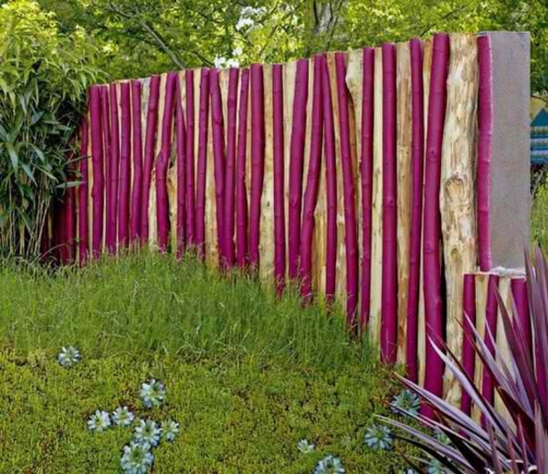 garden fence tree trunk in pink
