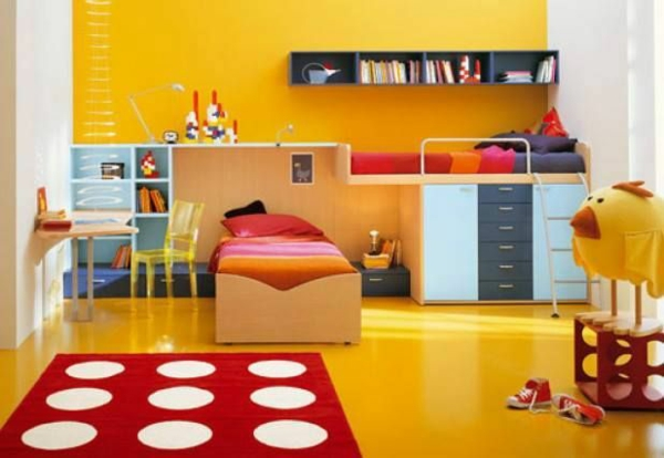 yellow room pointy carpet bed deco ideas