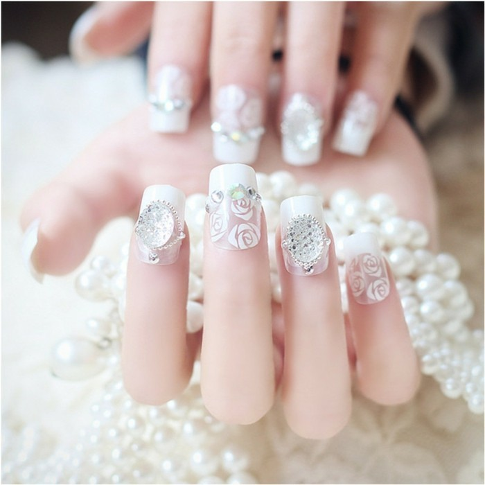 glitterstones beads flowers white nail polish manicure for wedding