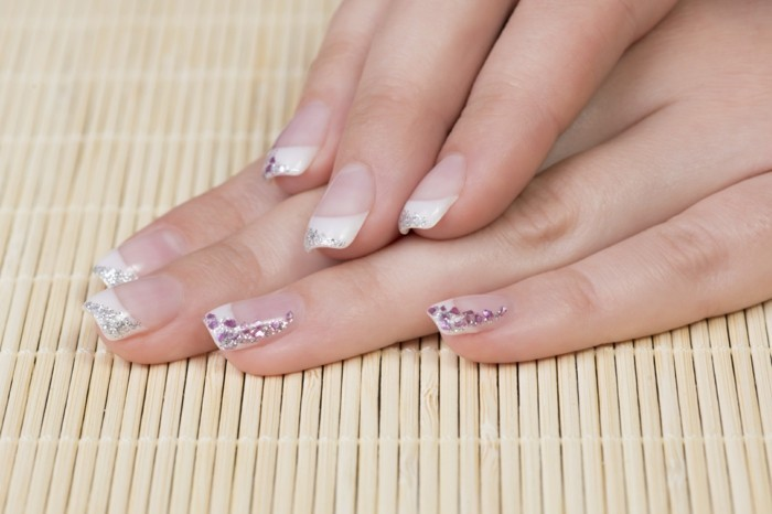 glittering nail design for wedding long wedding nails
