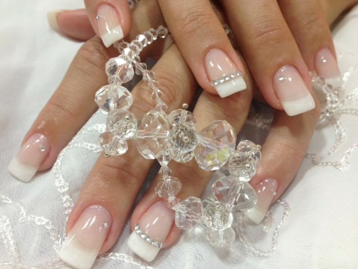 glitter stones french nails nails wedding