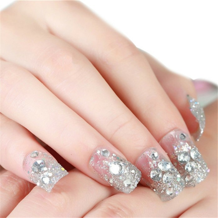 glittering stones ideas for wedding nails gel nails